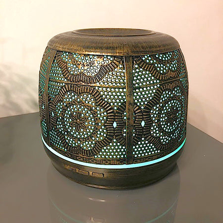 500ml Handmade Wrought Iron Bronze Aromatherapy Diffuser for Essential Oils-7 LED Colors