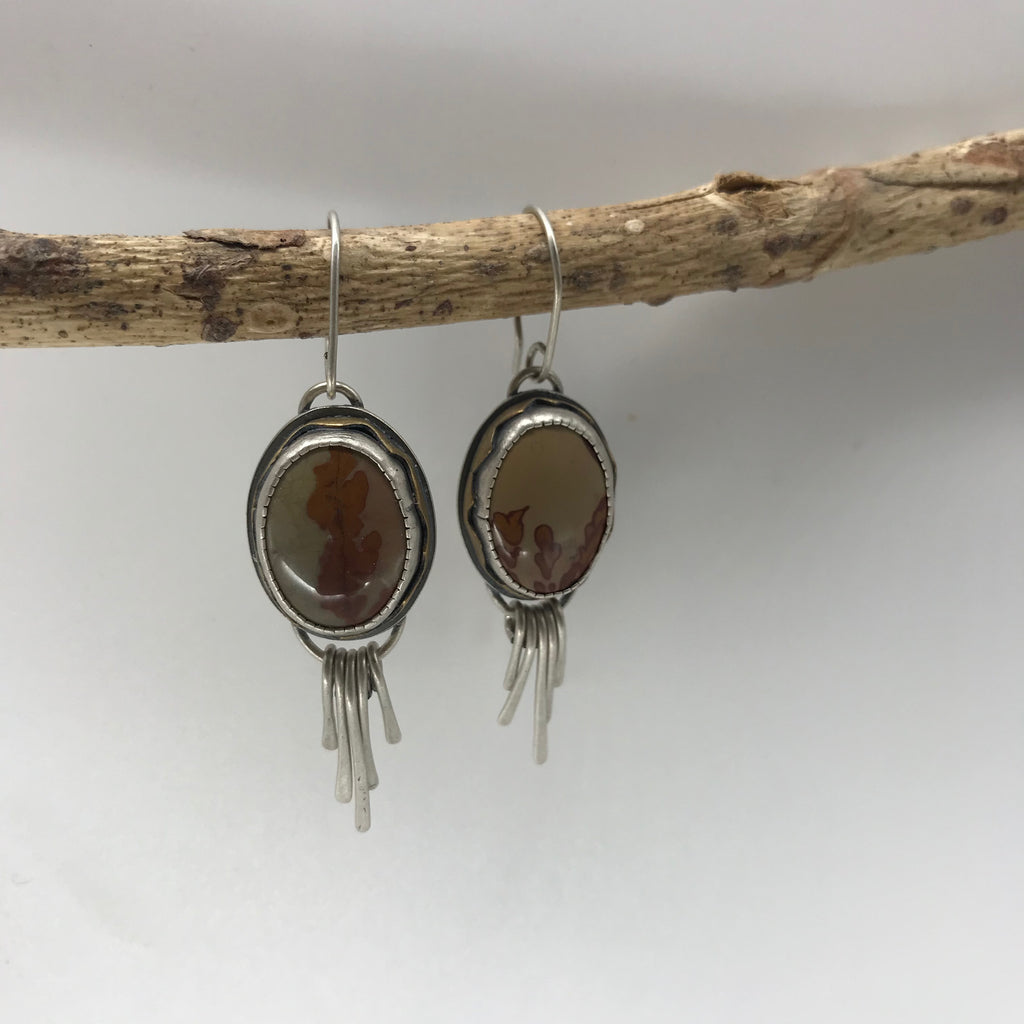 Goddess of the Desert: Owyhee Japser Earrings with Flowing River Dangles