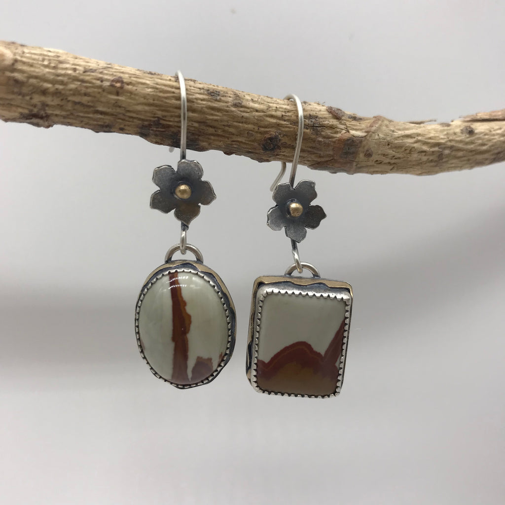Goddess of the Desert: Owyhee Japser Earrings with Flowers