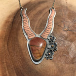 Goddess of the Desert: Skeletal Antelope Pendant with Flowers