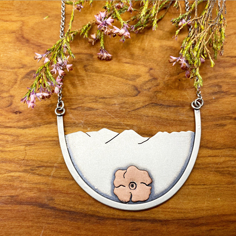 Custom Rounded Mountain Woman Pendant