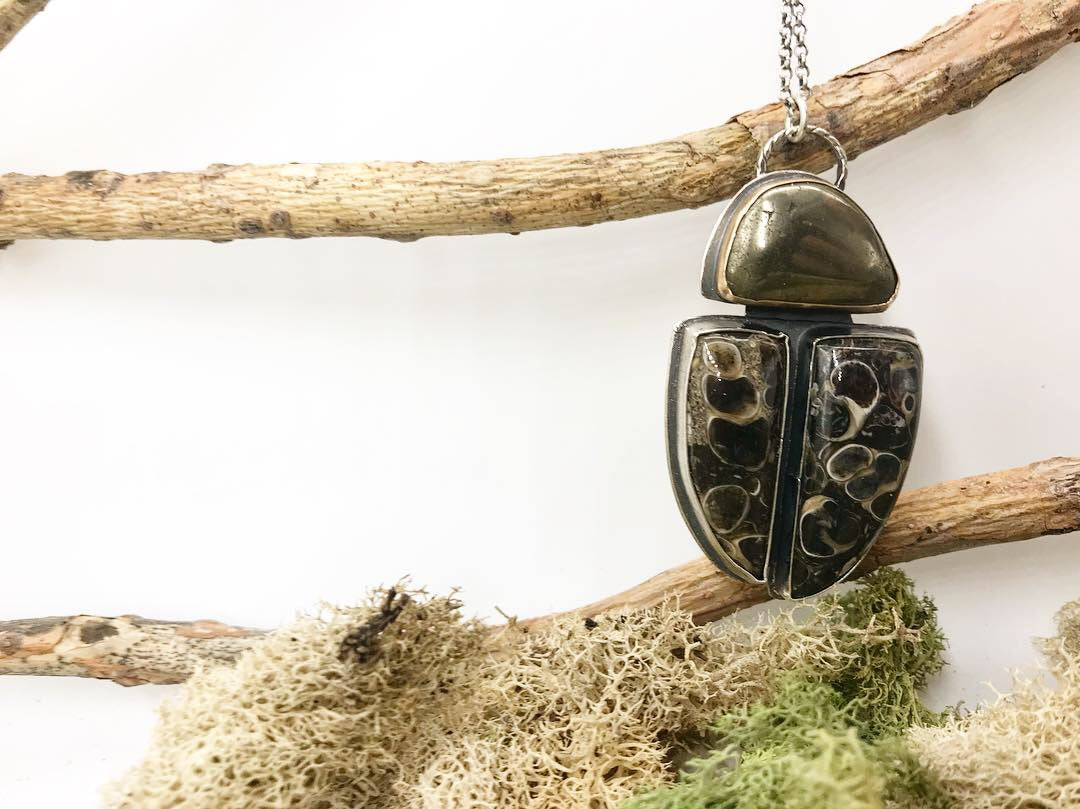 Insecta Collection: Beetles - Large Pendant with Turritella Agate and Pyrite