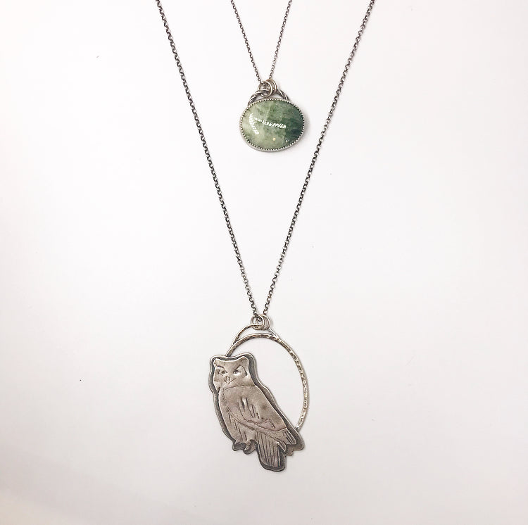 Blue Ridge: Great Horned Owl Double Necklace
