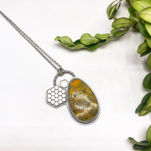 Pollinator Collection: Bumblebee Jasper and Honeycomb Pendant
