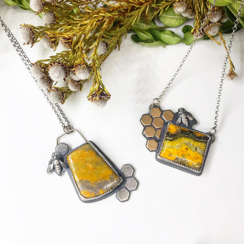 Pollinator Collection: Honeybee and Bumblebee Jasper Pendant