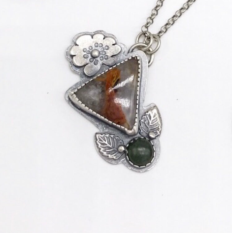 Pollinator Collection: Triangle Pietersite and Jade Pendant
