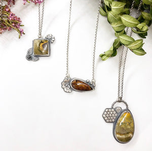 Pollinator Collection: Square Bumblebee Jasper Pendant