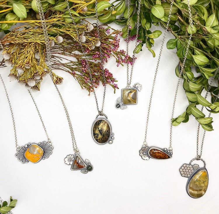 Pollinator Collection: Floral Bumblebee Jasper Pendant