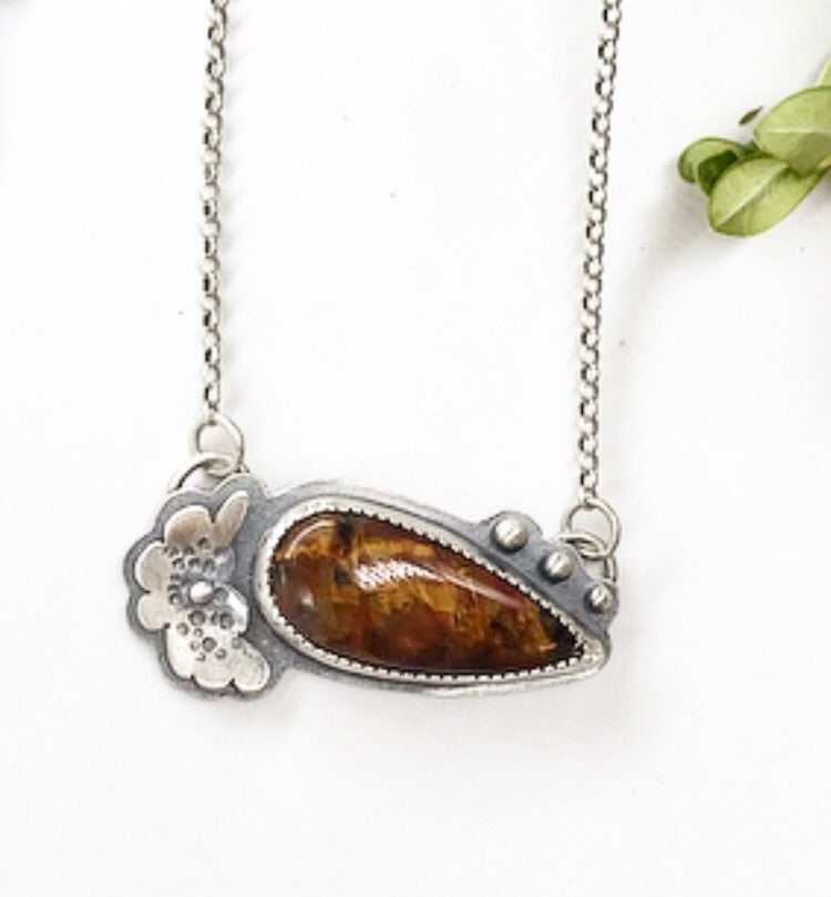 Pollinator Collection: Floral Pietersite Pendant