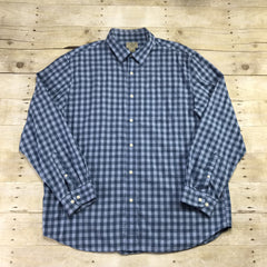 L.L.Bean Blue Check Plaid Button Up Shirt Mens Size Large