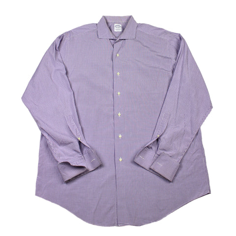 Vintage Brooks Brothers Purple Check French Cuff Button Up Shirt Made in USA Mens Size 17-35 (XL)