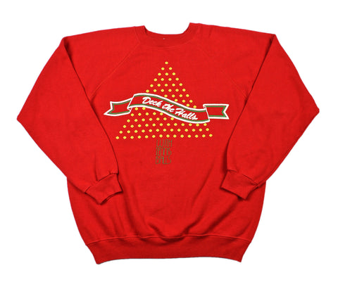 "Vintage 1980s Christmas ""Deck the Halls with Tennis Balls"" Sweatshirt Mens Size Medium"