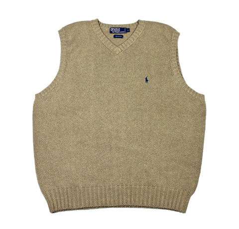 Vintage Polo by Ralph Lauren Sweater Vest in Khaki Mens Size Large