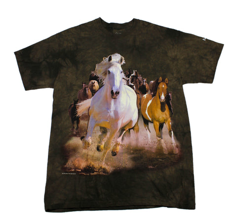 Wild Horses Stonewashed Brown T-Shirt Mens Size Large
