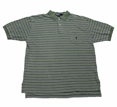 Vintage Polo by Ralph Lauren Green/Navy Striped Polo Shirt Mens Size Large