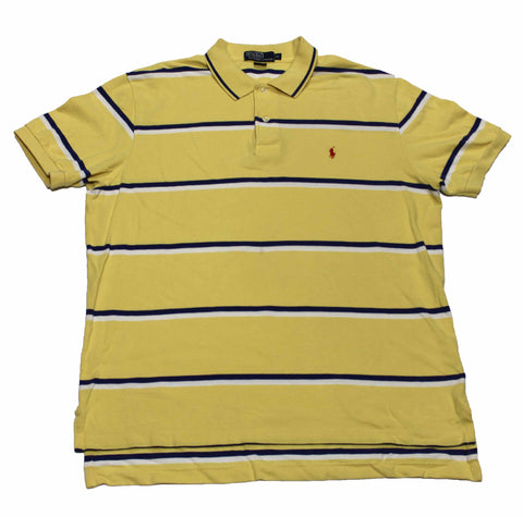 Vintage Polo by Ralph Lauren Yellow/Navy Striped Polo Shirt Mens Size XL