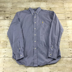 Ralph Lauren Blue Gingham Button Down Shirt Mens Size Large