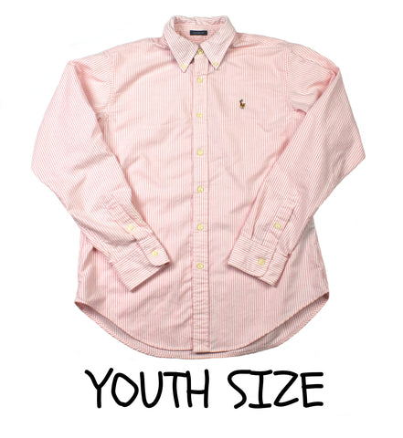 Ralph Lauren Pink Chambray Striped Button Down Shirt YOUTH Size 10