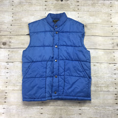 Vintage 1980s Blue Winter Down Vest Mens Size Small