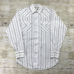 Vintage 80s Panhandle Slim White Striped Pearl Snap Button Up Western Shirt Mens Size Small
