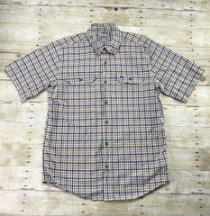 Carhartt Blue/Yellow Plaid Button Down Shirt Mens Size Large
