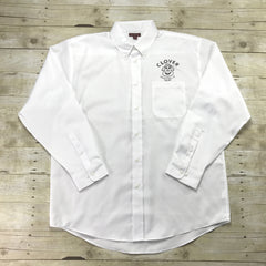 Clover Stornetta Petaluma, CA White Button Down Milkman Uniform Work Shirt Mens Size XL