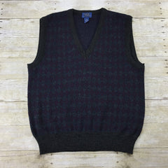 Vintage 80s Gray/Burgundy Diamond Print Sweater Vest Made in Italy Mens Size Medium