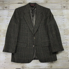Vintage Nordstrom Wool 2-Button Brown / Black Multicolor Herringbone Sport Coat Suit Jacket Mens Size 40R