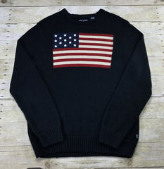 Chaps American Flag Navy Blue Sweater Mens Size Medium