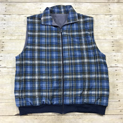 Vintage 1980s Blue Plaid Flannel Vest Mens Size XL