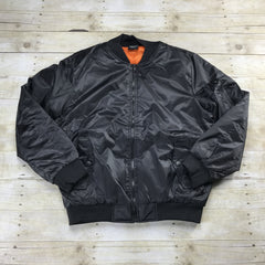 MA-1 Black Bomber Jacket with Orange Lining
