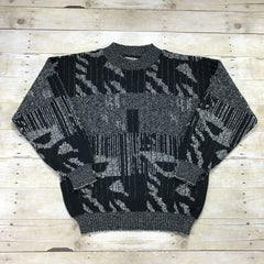 Vintage 90s Geometric Print Sweater Black/White Mens Size Medium