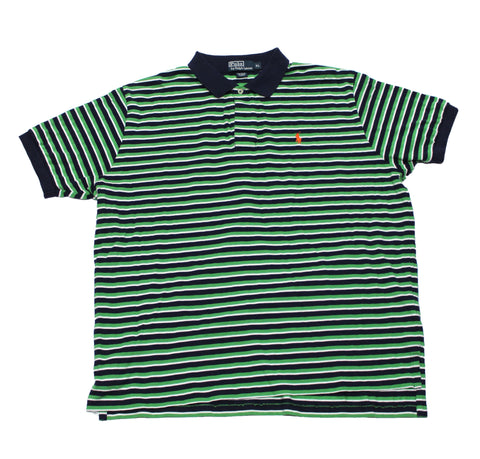 Vintage Polo by  by Ralph Lauren Green/Navy/White Striped Polo Shirt Mens Size XL