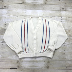 Vintage 1960s Red / White / Blue Striped Cardigan Sweater Mens Size XS