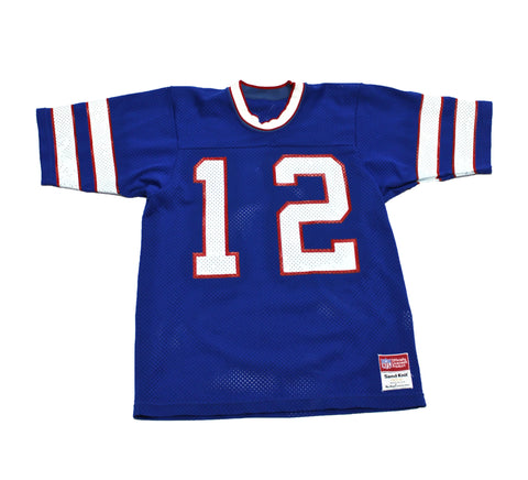 Vintage 1980s NFL Sand-Knit Buffalo Bills Jim Kelly #12 Football Jersey Made in USA Mens Size Small