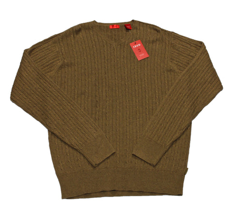 Deadstock Izod Brown Cableknit Sweater Mens Size Medium