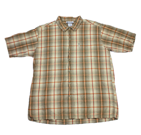 Columbia Tan/Red/Orange Plaid Button Up Shirt Mens Size XL