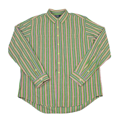 Vintage Polo by Ralph Lauren Green/Purple Striped Button Up Shirt Mens Size XL