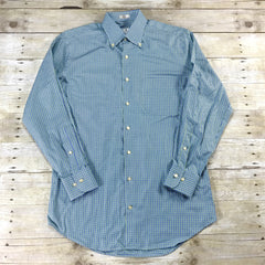 Peter Milllar Green / Blue Check Button Down Shirt Mens Size Small