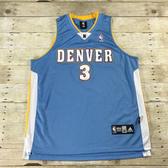 Authentic Adidas Denver Nuggets #3 Allen Iverson Sewn NBA Jersey Mens Size 52 (XL)