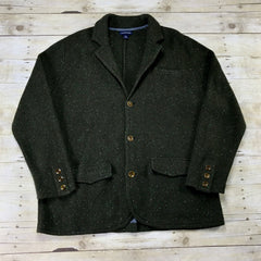 Lands End Green 3-Pocket Wool Blend Button Up Sweater Mens Size XL