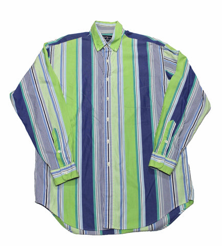 Vintage Polo by Ralph Lauren Green/Blue Striped Button Down Shirt Mens Size Large