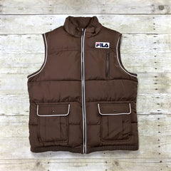 Vintage 90s FILA Sport Brown Puffy Vest Mens Size Small