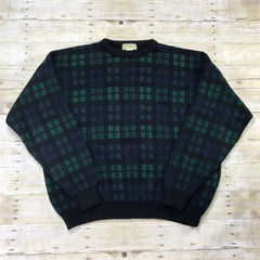 Vintage 1980s L.L.Bean Navy / Green Plaid Wool Sweater Made in USA Mens Size XXL