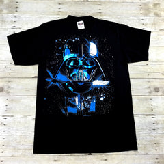 Vintage 90s Star Wars Darth Vader Blue Foil Print Graphic T-Shirt Mens Size Medium