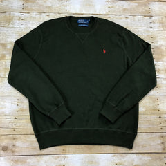 Polo by Ralph Lauren Green Cotton Sweater Mens Size XL