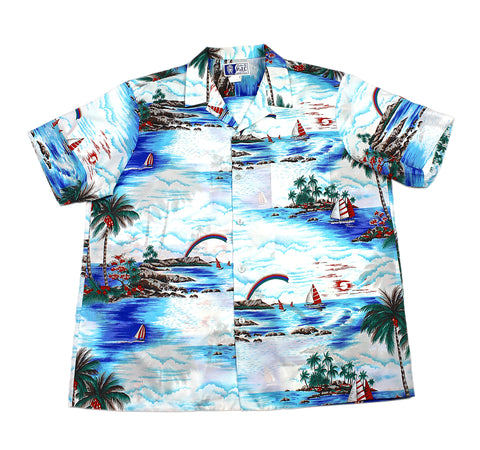 Vintage 90s White Island Scene Polyester Hawaiian Shirt Mens Size XL