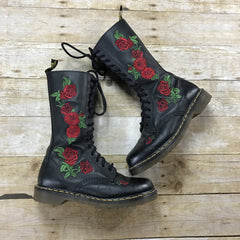 Dr. Martens Vonda Red Rose Floral 14 Eye Casual Black Leather Boots Womens Size 9