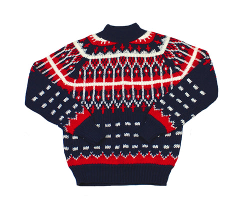 Vintage 80s Red/White/Blue Acrylic Christmas Sweater Mens Size Small