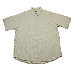 Columbia Beige Small Check Windowpane Button Down Shirt Mens Size XL